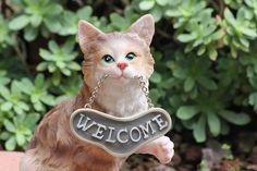 Cat, Welcome, Doorstop, Garden