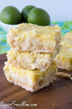 Sugar Free Lime Coconut Bars made low carb and grain free! In just one bite of these sweet and tart bars you will be transported to tropical place. Diabetic Desserts, Sugar Free Desserts, Sugar Free Recipes, Diabetic Recipes, Low Carb Recipes, Dessert Recipes, Flour Recipes, Stevia, Coconut Bars