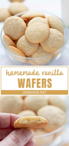 A popular cookie you can make from scratch! Vanilla Wafers, or sugar wafers, taste so much better when made with fresh ingredients. Whip up a batch of these fun homemade treats in no time and enjoy as… Bbq Desserts, Cookie Desserts, Just Desserts, Yummy Dessert Recipes, Desserts With Few Ingredients, Vanilla Desserts, Finger Desserts, Yummy Cookies, Vanilla Cookies