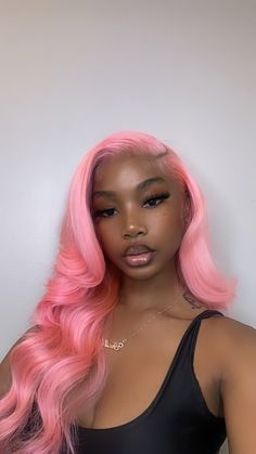 Baddie Hairstyles, Pretty Hairstyles, Black Girls Hairstyles, Weave Hairstyles, Pink Hair, Blue Hair, Lace Wigs, Lace Front Wigs, Curly Hair Styles