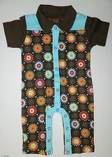NWT BANANA HANNAH boys Multi Color Blue Brown ROMPER 1-pc OUTFIT* 9 months