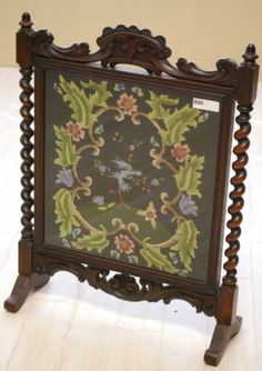 Victorian Fire Screen with Needlepoint Scene | Fire Screens ...