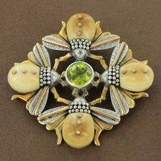 Sterling Silver & Gold-Filled Fossilized Walrus Ivory Peridot Bee Pendant by Zealandia - Fire and Ice