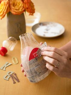 Pretty up-cycled Papier-Mache vase the kids cant break!