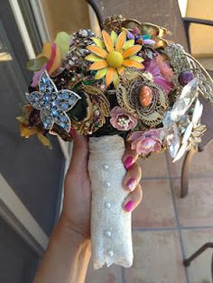 This wedding bouquet made out of antique broaches is AMAZING! What a unique idea!  --via Apples and ABC's