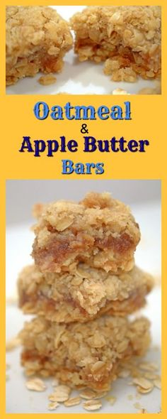 Oatmeal & Apple Butter Bars are a simple and delicious treat. Easy to make, you probably have all the necessary ingredients in your pantry, already! (Pear Bake Oatmeal)
