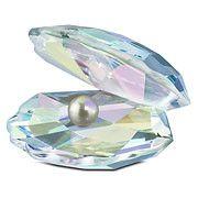 Swarovski Shell with Pearl, Light Blue
