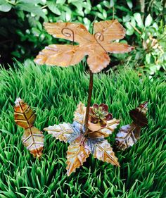 Fairy Garden Table and Chairs Umbrella Set ~ Flowerpot with mini succulent plant ~ Fairy Garden Miniatures ~ Antiqued Metal ~ Leaf Design by BeachCottageBoutique on Etsy