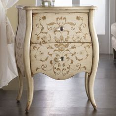 Ariana Chest.CHALK PAINTED AND BEAUTIFUL STENCILED TWO DRAWER VINTAGE CHEST THAT WOULD BE A GORGEOUS ACCENT PIECE OR END TABLE. CHERIE