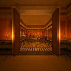 Villa reconstruction Pompeii, Italy Triclinium, the famous dining room at the villa of the Mysteries.
