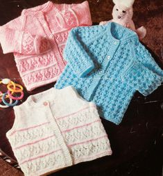 vintage baby knitting pattern for cardigans and sweet
