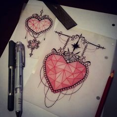 Couple of heart designs that are available  see me at The Projects Tattoo or email me if youre interested!!  sophie.adamson@hotmail.co.uk #tattoo #design #drawing #heart #neotraditional #art #uktattoo #plymouth #heartgem #ladytattooers #ntgallery...