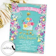 Princess // Lil' Princess // Little Princess // Bling // Jewel // Watercolor // Floral // Gold Leaf // Cameo // Baby Shower Cake // Floral Cake // Teal Pink Purple Gold Baby Shower Invitation by SoCalCrafty on Etsy. Printed or Printable. $16+