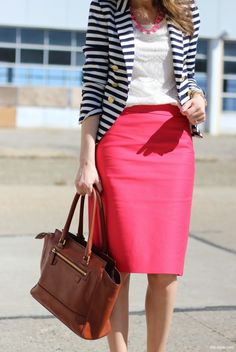 Shop this look on Lookastic:  https://lookastic.com/women/looks/blazer-crew-neck-t-shirt-pencil-skirt-satchel-bag-necklace-watch/11510  — Hot Pink Necklace  — White and Navy Horizontal Striped Blazer  — White Lace Crew-neck T-shirt  — Gold Watch  — Hot Pink Pencil Skirt  — Brown Leather Satchel Bag