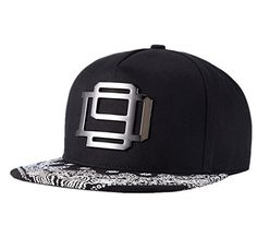 Mens Floral Print Flat Bill Hat Adjustable Metal Rock Hip Hop Cap Baseball Hat