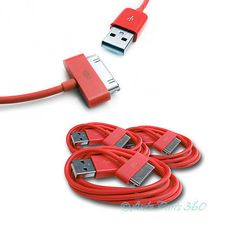 3X USB SYNC DATA POWER CHARGER CABLE APPLE IPAD IPHONE 4S 4 3GS IPOD TOUCH RED