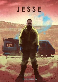Jesse Pinkman - Breaking Bad - Mery J Kendy Breaking Bad, Eden Design, Jesse Pinkman, Emblem, Illustration, Car Posters, Movie Poster Art, Film Serie, Poster Making