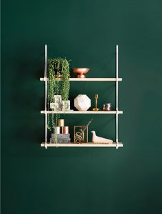 ▷ Fresh Wall Paint Ideas in Green - Color Trend ▷ frische Ideen für Wandfarbe in Grün – Farbtrend 2017 Intensive, green wall with a minimalist shelf # Green decor # shelf point - Wall Design, House Design, Display Design, Design Design, Dark Green Walls, Dark Walls, Dark Teal, Green Painted Walls, Green Wall Paints