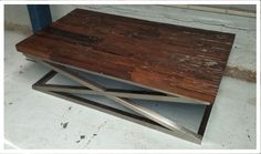 Industrial Recycled Timber Coffee Table With Zig Zag Stainless Steel Legs