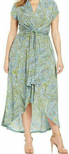 Plus Size Printed Faux-Wrap Maxi Dress Curvy Fashion, Plus Size Fashion, Womens Fashion, Maxi Wrap Dress, Dress Up, Plus Size Dresses, Plus Size Outfits, Mode Plus, Looks Plus Size