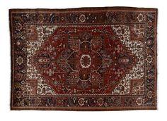 HERIZ / IRAN  Item Number:04-K50964 Width: 8 ft. 4 in. Length: 11 ft. 11 in. Field: GEOMETRIC Field Color: RED Border Color: BLACK www.togarrugs.com (828)-687-1968