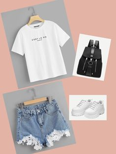 White Tshirt, Denim Shorts, Backpack, Sneakers and you're Awesome! Nyc Dresses, You're Awesome, Denim Shorts, Backpack, Cute Outfits, Crop Tops, Sneakers, T Shirt, Clothes