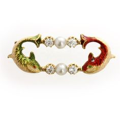 An exquisite late Victorian Phillips fish brooch, the brooch comprising two fish bent in semi-circular movement, embellished with green and red enamel, a natural pearl and two old brilliant-cut diamonds joining both the tails and the heads, the diamonds estimated to weigh a total of 0.4 carats, all set to a yellow gold mount and brooch fitting, signed AP, gross weight 5.2 grams, circa 1890.