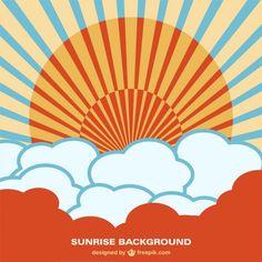 Sunrise background vector free