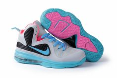ac33e859b9515 Womens Nike Lebron James 9 Grey Blue Pink