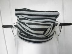 My Secret Pocket Black and Gray Striped Double Wrap Infinity