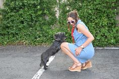 Summer, Watch, Style, Blogger, Scarf, Jean Dress, Dog, Happy, Fashion Ideas.