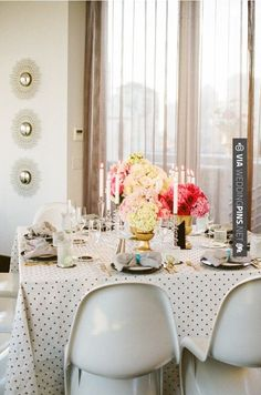 Like this - Polka dot tablescape | CHECK OUT MORE GREAT BLACK AND WHITE WEDDING IDEAS AT WEDDINGPINS.NET | #weddings #wedding #blackandwhitewedding #blackandwhiteweddingphotos #events #forweddings #iloveweddings #blackandwhite #romance #vintage #blackwedding #planners #whitewedding #ceremonyphotos #weddingphotos #weddingpictures