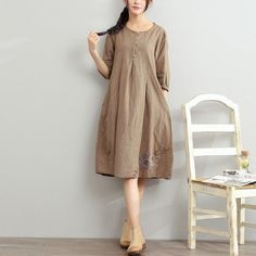 2017 gray summer linen dresses oversize sundress bracelet sleeve dressThis unique deisgn deserves the best quality texture. The fabric of this article is soft, comfortable and breathy.Flattering cut. Makes you look slimmer and matches easlily with jeans, leggings stylish pants or skirts. Measurement: One size fits all for this item. Please make sure your size doesn't exceed this size: XL/US16-18/EUR44      length 96cm / 37.44