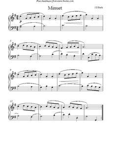 Bach -  Minuet sheet music for Piano