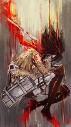 Descent by lllannah on DeviantArt Mikasa. Attack on titan. 進撃の巨人. Shingeki no Kyojin. Атака титанов. #SNK. #AOT
