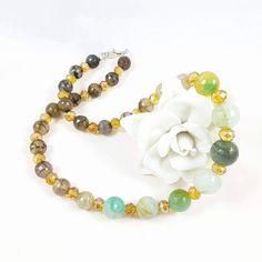 Guarda questo articolo nel mio negozio Etsy https://www.etsy.com/it/listing/479271147/collana-agata-cristalliverde-giallo-nero