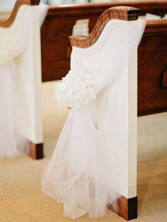 Church aisle white HYDRANGEA + TULLE decor - Gainesville Wedding by Amy Arrington Photography