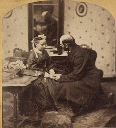 """The Proposal. Studio of George Stacy, bet. 1861-66. Stereoview, detail. Library of Congress.  """
