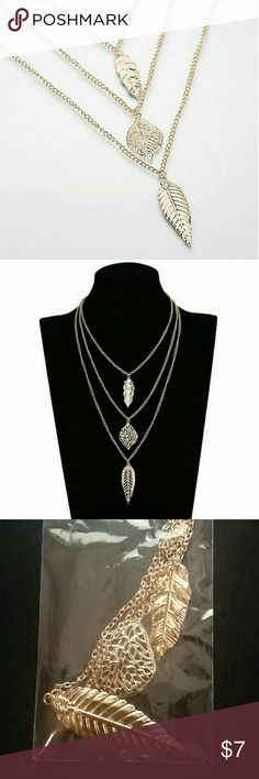 Gold Triple Layer Leaves and Feather Necklace Gold Color  Triple layer Jewelry Necklaces