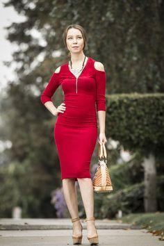 Red Cold Shoulder Bodycon Midi Dress