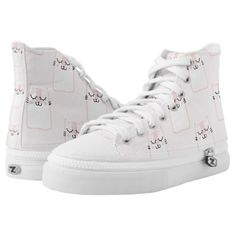 Cute Pink & White Cartoon Cats Zipz High Top Shoes - pattern sample design template diy cyo customize