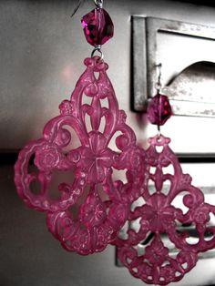 Ornate Raspberry Chandelier Earrings  Dark Magenta by ShySiren, $38.00