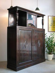 【アンティーク 古道具 JIKOH】レトロ アンティーク ヴィンテージ 古い洋館にありそうな 桜材 キャビネット/本棚/飾り棚/食器棚【楽天市場】迫力ありです