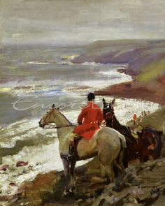 Alfred J Munnings - Alfred Munnings - Whipper on the Cornish Cliff Painting
