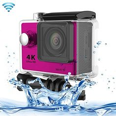 Professional Product Easy to Use H9 4K Ultra HD1080P 12MP 2 inch LCD Screen WiFi Sports Camera, 170 Degrees Wide Angle Lens, 30m Waterproof ( Color : Pink ). The World's Most Versatile Camera. 1. Brand new and high quality. 2. 2 inch LTPS LCD Screen. 3. Wi-Fi Remote Control. 4. 4K Ultra-HD definition.
