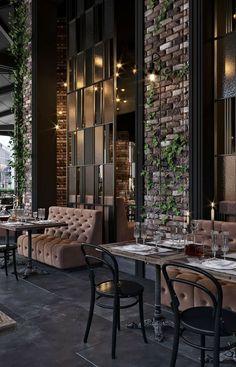 Luxury Restaurant, Outdoor Restaurant, Modern Restaurant, Design Café, Cafe Design, Modern Design, Commercial Design, Commercial Interiors, Industrial Restaurant
