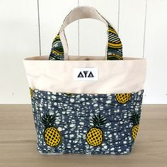 AYA: SMALL TOTE BAG dutch wax, vlisco, african fabric, pineapple, made in japan!