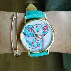 Elephant watch and arrow bracelet Turquoise elephant watch and gold arrow bracelet batteries included Jewelry Bracelets