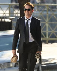 "Robert Downey Jr on the set of his new film ""The Judge"""