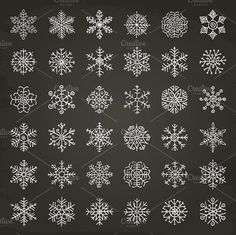 Winter Snowflakes Doodles by o l y a on @creativemarket